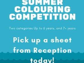 We are running a Summer Colouring Competition with two age brackets, up to 6 years & 7 years and over. The closing date is 30th August 2019.(Click here to view the full image)